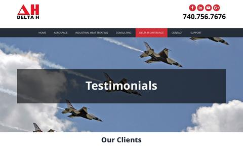 Screenshot of Testimonials Page delta-h.com - Client testimonials | DELTA H TECHNOLOGIES, LLC - captured Oct. 7, 2018
