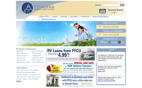 Screenshot of Home Page pfcu.org - Home Page - captured Sept. 23, 2014