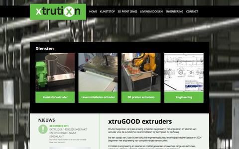 Screenshot of Home Page xtrution.com - Vanaf 1998 ervaring in kunststof en levensmiddelen extruders : Xtrution - captured Jan. 10, 2016