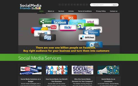 Screenshot of Home Page socialmediafriends.net - Social Media Services - captured Oct. 9, 2014
