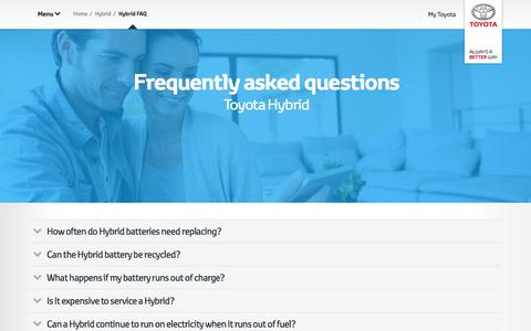 Screenshot of toyota-europe.com - Frequently asked questions  Toyota Europe - captured April 15, 2016
