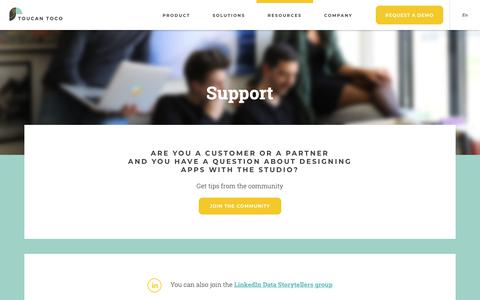 Screenshot of Support Page toucantoco.com - Assitance, support and help for Toucan Toco - Clients and Partners   Toucan Toco - captured Oct. 20, 2018