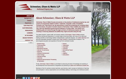 Screenshot of About Page iplawusa.com - Patent, Trademark, Copyright Lawyers, Albany, Phoenix|Schmeiser, Olsen & Watts - captured Oct. 4, 2014