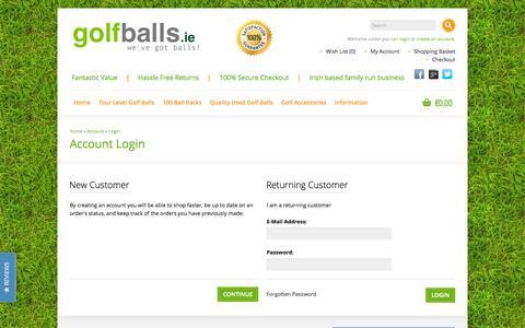 Screenshot of Login Page golfballs.ie - Account Login - captured Oct. 3, 2014