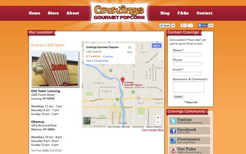 Screenshot of Contact Page Maps & Directions Page cravingspopcorn.com - Contact Cravings | Cravings Gourmet Popcorn - captured Oct. 22, 2014