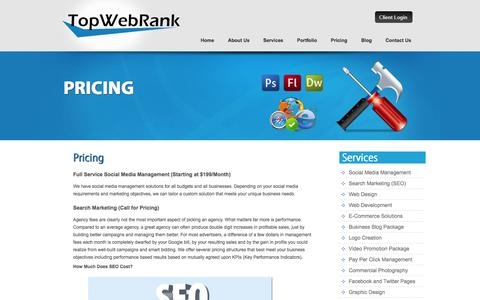 Screenshot of Pricing Page topwebrank.com - Pricing - Top Web Rank - captured Oct. 9, 2014