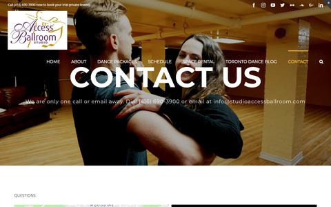 Screenshot of Contact Page studioaccessballroom.com - Contact - Access Ballroom - Dance Lessons and Classes - captured July 10, 2018