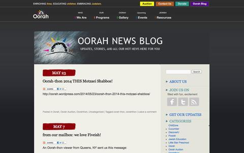 Screenshot of Blog oorah.org - Oorah Blog - captured Oct. 9, 2014