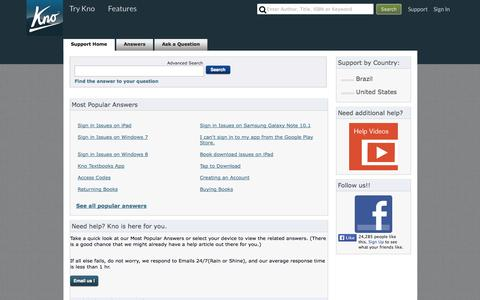 Screenshot of Contact Page FAQ Page Support Page kno.com - Same textbooks, WAY smarter | eTextbooks | 15-day money back guarantee | Available on iPad, Android, Windows 7, Windows 8 and Web. - captured Oct. 23, 2014