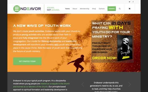 Screenshot of Home Page endeavormovement.com - Endeavor | Activists. Not Activities. - captured Jan. 29, 2016