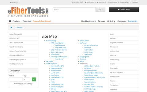 Screenshot of Site Map Page efibertools.com - Site Map - captured Nov. 15, 2016