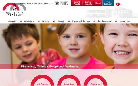 Screenshot of Home Page minnehahaacademy.net - Minnehaha Academy   PreK-12 Christian Private School in Minneapolis - captured Nov. 5, 2017