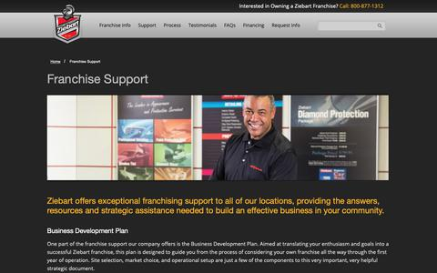 Screenshot of Support Page ziebart.com - Franchise Support | Franchising Opportunities | Ziebart - captured Dec. 20, 2018