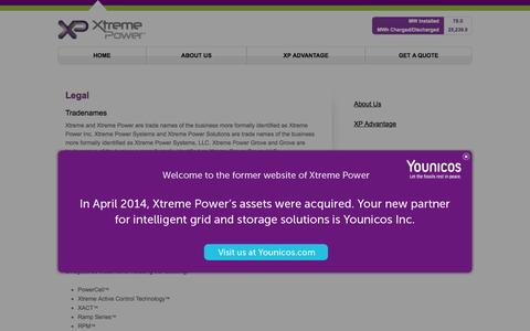 Screenshot of Terms Page xtremepower.com - Legal - Xtreme Power - captured Aug. 11, 2015