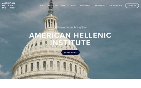 Screenshot of Home Page ahiworld.org - American Hellenic Institute - captured Oct. 3, 2018