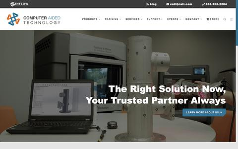 Screenshot of Home Page cati.com - Computer Aided Technology - SOLIDWORKS 3D CAD - Stratasys 3D Printing - captured Oct. 6, 2018