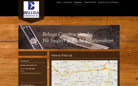 Screenshot of Maps & Directions Page belugaconstruction.com - Beluga Construction - Directions - captured Nov. 3, 2014