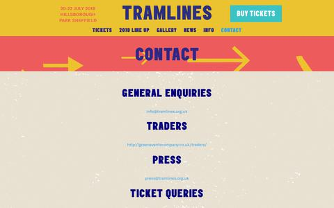 Screenshot of Contact Page tramlines.org.uk - Contact - Tramlines - captured Sept. 27, 2018