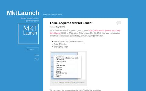 Screenshot of Press Page wordpress.com - News | MktLaunch - captured Sept. 12, 2014