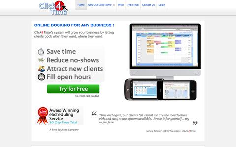 Screenshot of Home Page click4time.com - Click4Time - Online appointment booking and scheduling software with reminders - captured Sept. 19, 2014