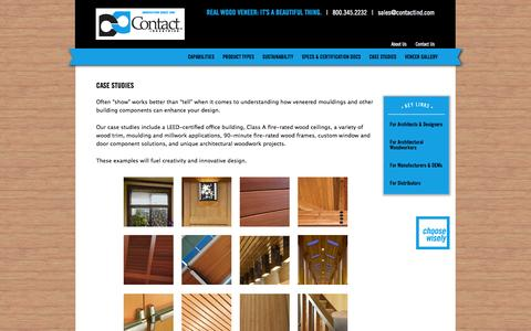 Screenshot of Case Studies Page contactind.com - Architectural millwork, wood ceilings, fire rated door frames, millwork - captured Oct. 3, 2014