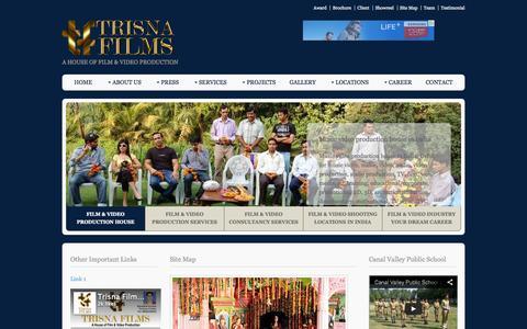 Screenshot of Site Map Page trisnafilms.com - Site Map of Trisna Films, Delhi, India, Gurgaon, IMT Manesar, Alwar, Haridwar, Delhi, Gurgaon, Noida, Faridabad, Sonepat, NCR, NCT. - captured Aug. 16, 2015