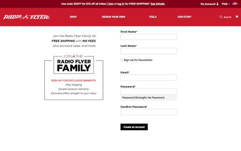 Screenshot of Signup Page radioflyer.com - Create New Customer Account - captured Sept. 21, 2019