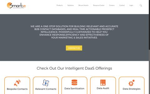 Screenshot of Home Page smarteinc.com - Data-as-a-service, (DaaS), B2B Contact Databases, Business Data Discovery Providers, Append Cleansing List, Opt-in - SMARTe Inc - captured May 25, 2017