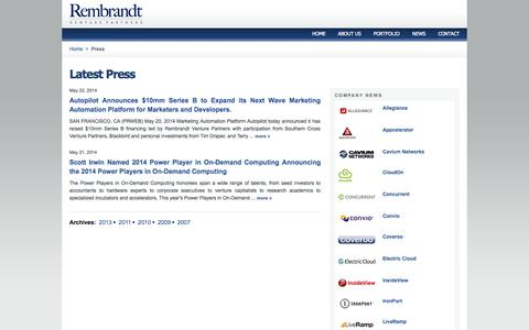 Screenshot of Press Page rembrandtvc.com - Press | Rembrandt Venture Partners News & Press Releases - captured Oct. 6, 2014