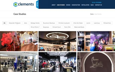 Screenshot of Case Studies Page clementsretail.com - Case Studies - Clements - captured July 13, 2016
