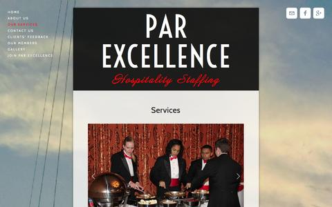 Screenshot of Services Page parexcellencestaffing.com - Our Services — Par Excellence - captured Oct. 1, 2014