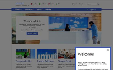 Screenshot of About Page intuit.com - Company - captured Dec. 4, 2015