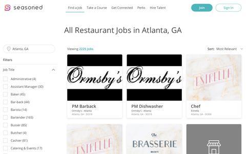 Screenshot of Jobs Page seasoned.co - All Restaurant Jobs in Atlanta, GA @ Seasoned - captured July 10, 2019