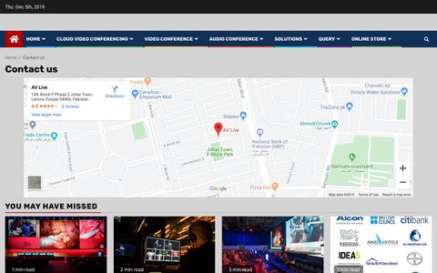 Screenshot of Contact Page av-live.com.pk - Contact - AV Live Communication for your Video conferencing needs - captured Dec. 5, 2019