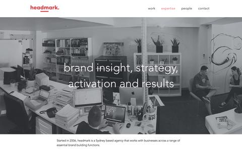 Screenshot of Services Page headmark.com - brand insight, brand strategy, brand activation and results | headmark | Sydney | NSW - captured Dec. 8, 2015