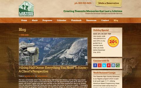 Screenshot of Blog lastingadventures.com - Yosemite Hiking, Backpacking, and Summer Camp Blog | Lasting Adventures - captured Dec. 7, 2015