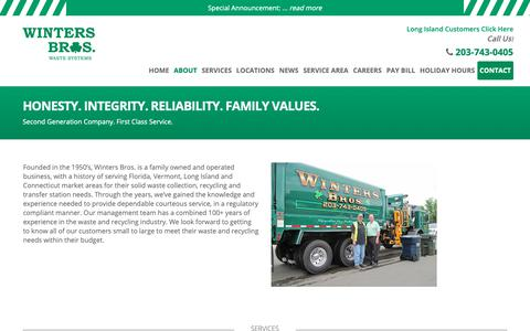 Screenshot of About Page wintersbrosct.com - About - Winter Bros. Waste Systems - Trash Service Company CT - captured Oct. 19, 2018