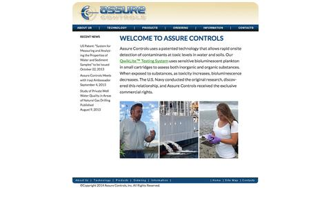 Screenshot of Home Page Site Map Page assurecontrols.com - Assure Controls | Assuring Water Quality - captured Oct. 4, 2014