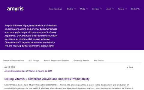 Screenshot of Press Page amyris.com - Amyris Completes Sale of Vitamin E Royalty to DSM   Amyris - captured May 24, 2019