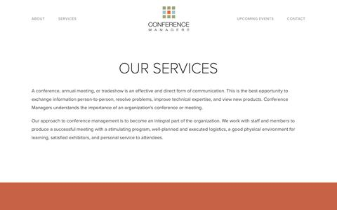 Screenshot of Services Page conferencemanagers.com - Our Services — Conference Managers - captured Nov. 11, 2018