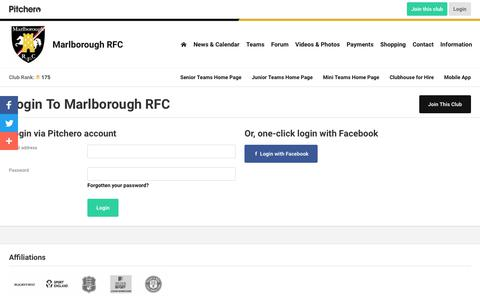 Screenshot of Login Page pitchero.com - Marlborough RFC - captured Oct. 22, 2018