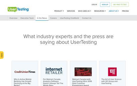 Screenshot of Press Page usertesting.com - UserTesting in the News - captured Jan. 27, 2018