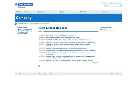 Screenshot of Press Page tesensors.com - News & Press Releases   Telemecanique Sensors - captured Oct. 26, 2014