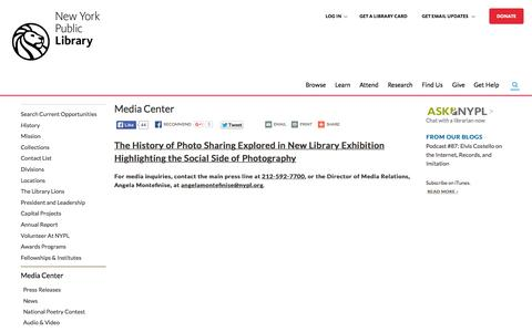 Screenshot of Press Page nypl.org - Media Center | The New York Public Library - captured Nov. 17, 2015