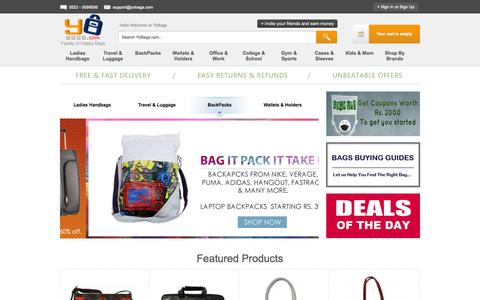 Screenshot of Home Page yobags.com - Buy Bags Online | Shop Ladies Handbags, Luggage Bags in India - captured Oct. 2, 2014