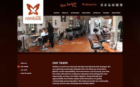 Screenshot of Team Page nimbussalon.com - Our Team | Nimbus Salon | Los Gatos, CA - captured Sept. 30, 2014