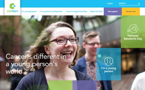 Screenshot of Home Page canteen.org.au - Home - CanTeen - captured Sept. 26, 2015