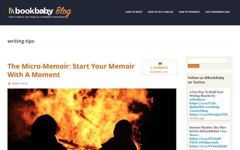 Screenshot of Blog bookbaby.com - writing tips | BookBaby Blog - captured Feb. 27, 2017