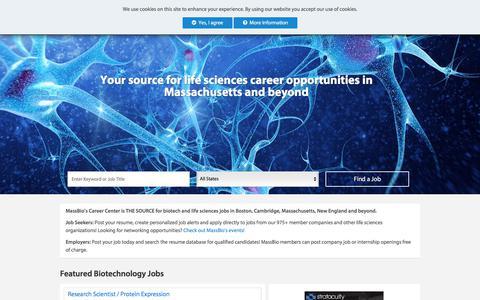 Screenshot of Jobs Page massbio.org - Life Sciences Jobs - MassBio Career Center - captured Sept. 20, 2018