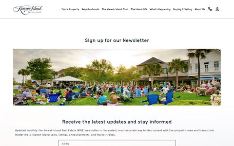 Screenshot of Signup Page kiawahisland.com - Newsletter Signup | Kiawah Island Real Estate - captured Oct. 2, 2018